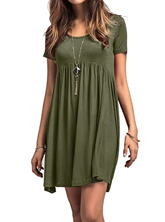 PINKMILLY Women s Casual Plain Short Sleeve Loose Tunic T-Shirt Dresses XL Olive  Green a6ccd3a9cd