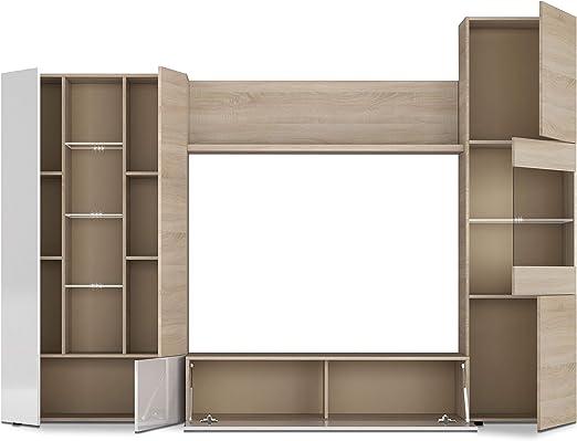 Habitdesign 016642F - Mueble de Comedor con Leds, Acabado en Blanco Brillo y Roble Canadian, Medida 260 cm de Ancho: Amazon.es: Juguetes y juegos