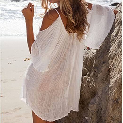 JOTHIN Damen Böhmen V-ausschnitt Schlinge Kurz Ärmel Kurzes Kleid  Sommerkleid Strandkleider-Form Shirt S M L XL  Amazon.de  Bekleidung f476576473