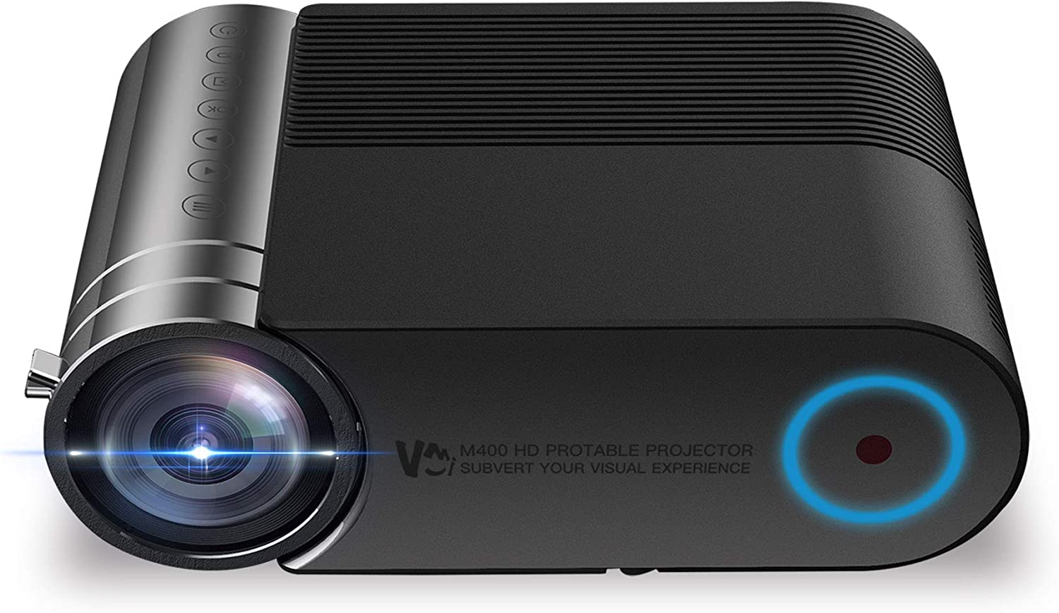VMI M400 Portable Video Projector; 720P Native/ Full HD 1080P Support; 150ANSI/ 3800Lux; Home Theater/ Outdoor Movie/Meeting Proposal, Compatible with Fire TV Stick, PS4, Multiple Video Source Inputs