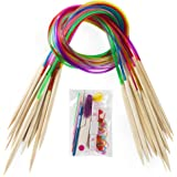 "18 Pairs Bamboo Knitting Needles Set, Vancens Premium Circular Wooden Knitting Needles with Colorful Plastic Tube, 5 Kind of Tools for Weave are Included, 18 Sizes: 2mm - 10mm, 31.5"" Length"
