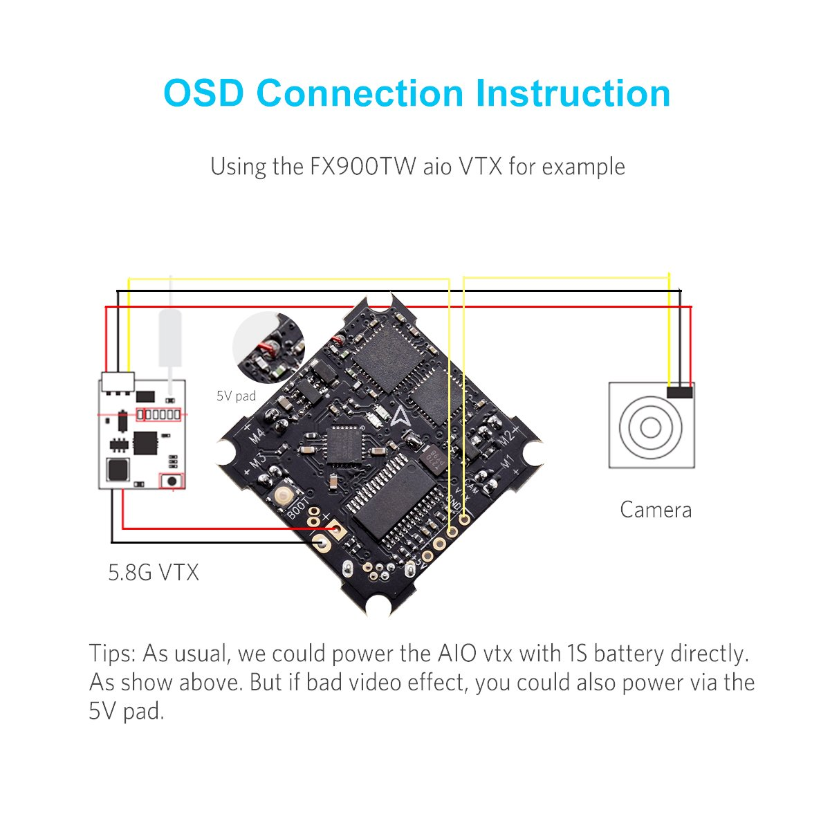 Betafpv F3 Fc Brushed Flight Controller Integrated With Osd And Dsmx Spektrum Satellite Adapter Wiring Diagram Receiver For Tiny Whoop Rc Drone Toys Games