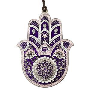 "TALISMAN4U Purple Enamel Good Luck Hamsa Hand Wall Hanging Home Decor Hebrew Priestly Blessing Evil Eye Protection Gift 4"""