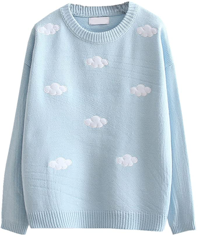 Pastel Blue Kawaii Clouds Sweater