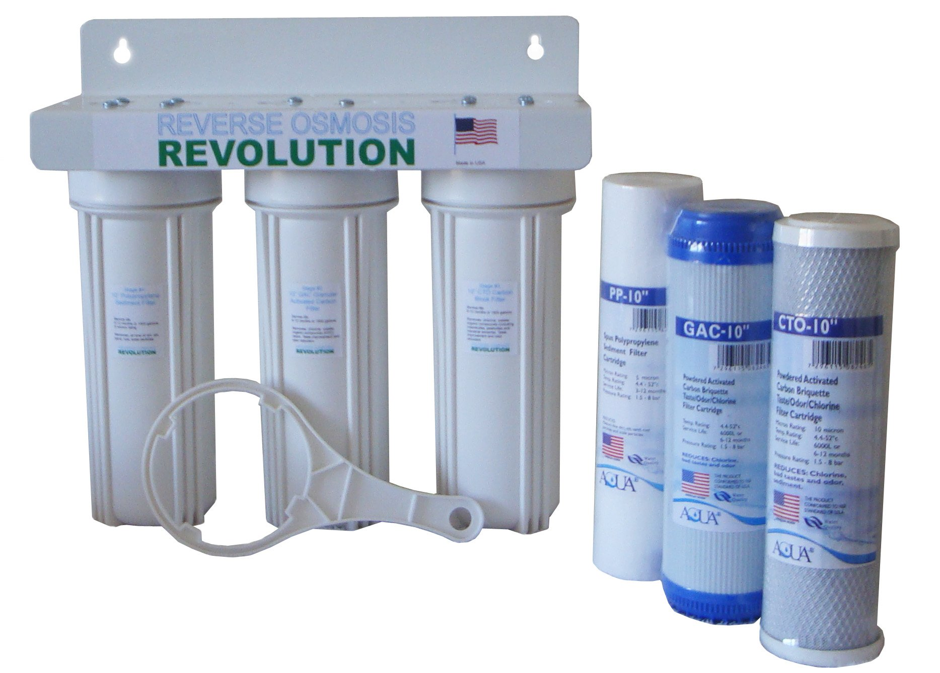 Whole House 3-Stage Water Filtration System, 1/2'' port. Works with standard 10'' filters. Build in USA.
