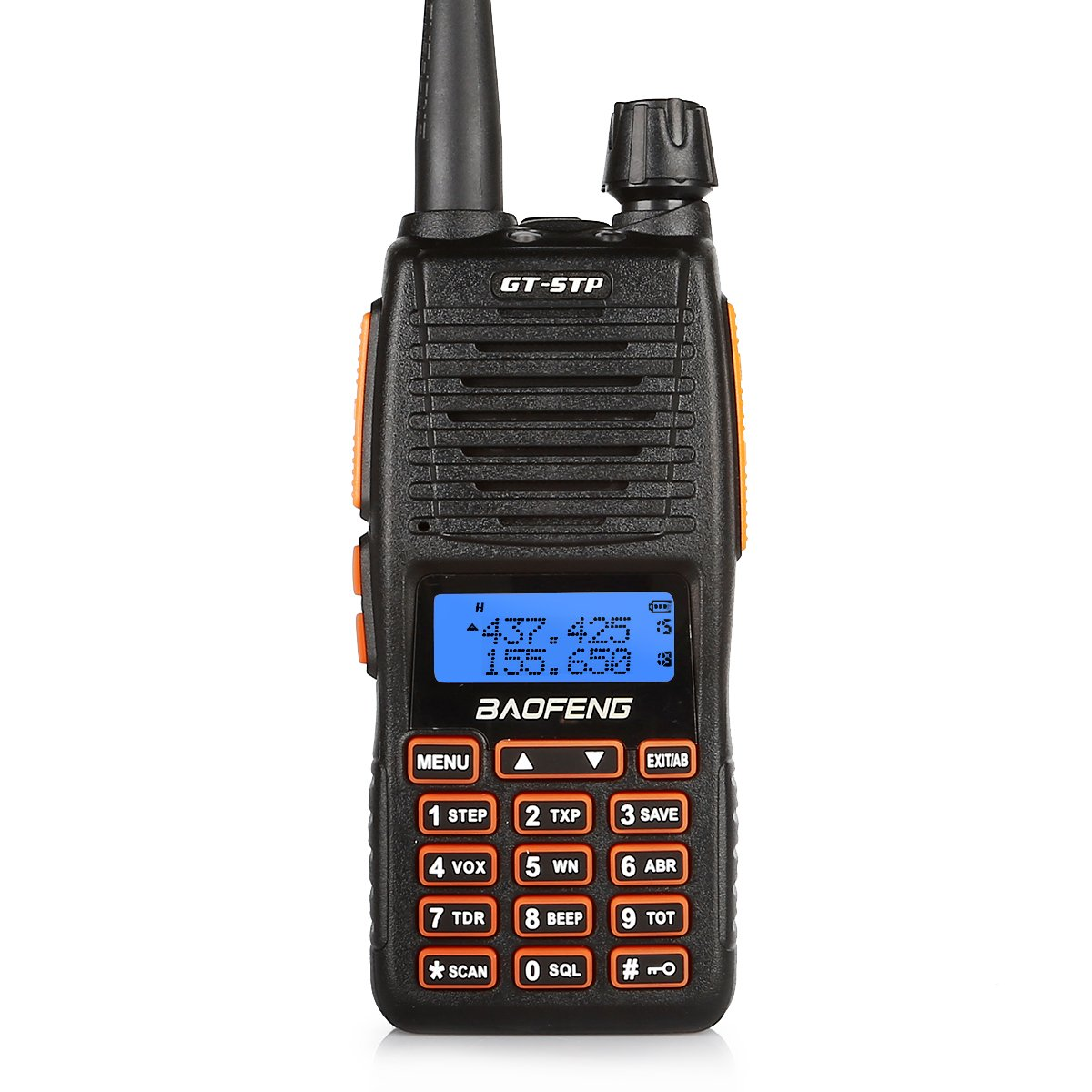 BaoFeng GT-5TP 8W 4W 1W Tri-Power UHF VHF Dual Band Amateur Ham Radio Handheld Two Way Radio Walkie Talkie with Earpiece 2000mAh Battery Dual PTT