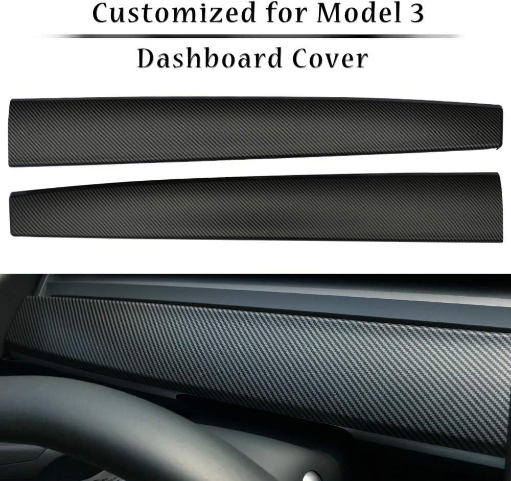 LMZX Model 3 Dash Cover Wrap ABS Matte Carbon Fiber Dashboard Cover Wrap Cap for Tesla Model 3 Dashboard Protection Accessories (Matte Carbon Fiber)