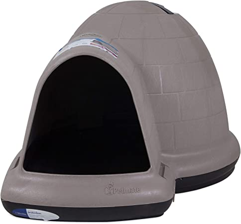 Amazon Com Petmate Indigo Dog House All Weather Protection Taupe Black 3 Sizes Available Igloo Dog Pet Supplies
