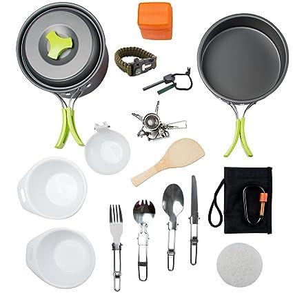 Amazon.com: MalloMe Kit de cocina para acampada y senderismo ...