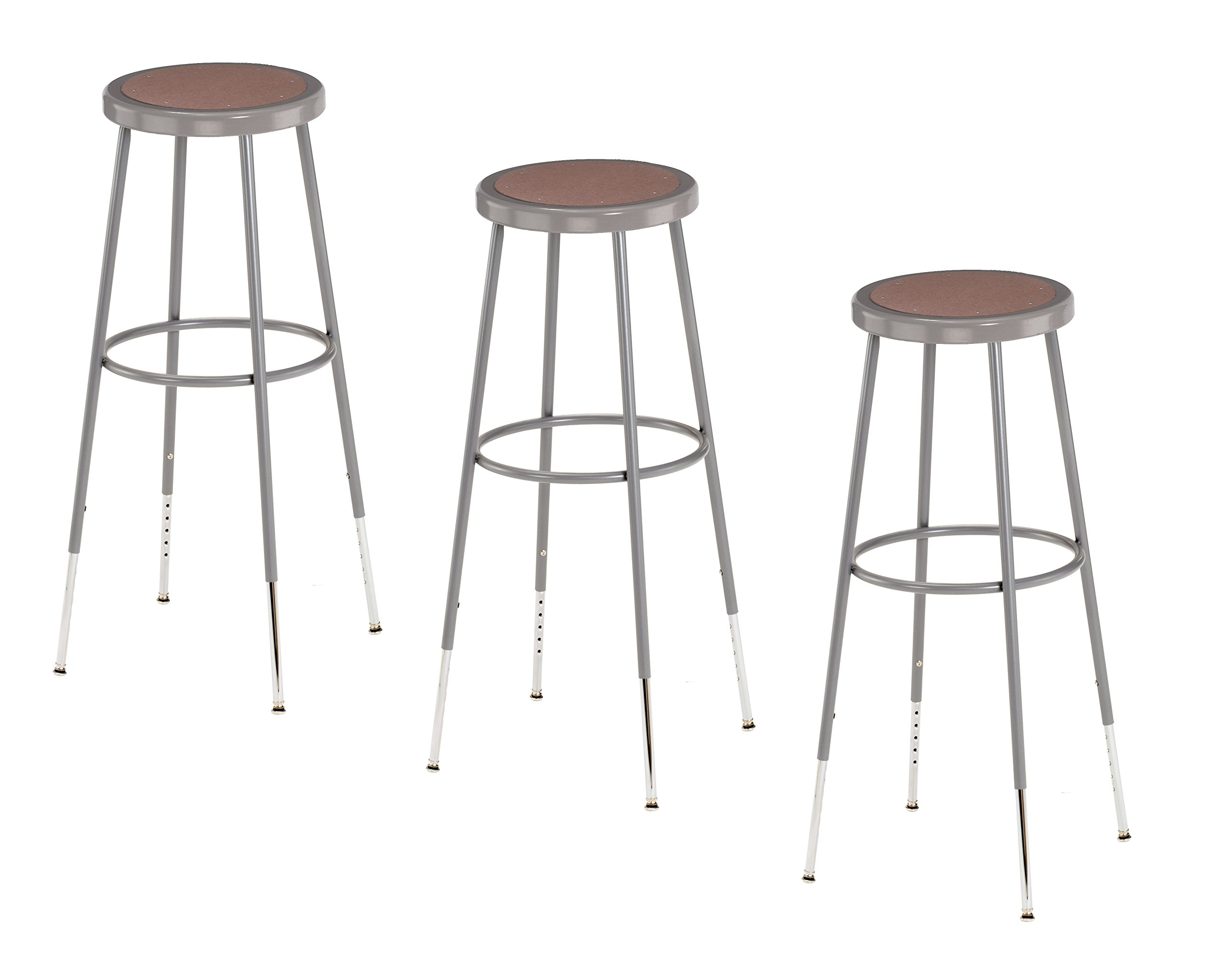 National Public Seating 6230H-CN Steel Stool with Hardboard Seat Adjustable, 31''-39'', Grey (Pack of 3) by National Public Seating