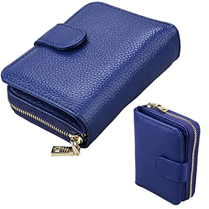 JANSBEN Monedero Mujer Pequeno Cartera Piel Genuina RFID Bloqueo Billetera Mujer con Caja de Regalo-Azul
