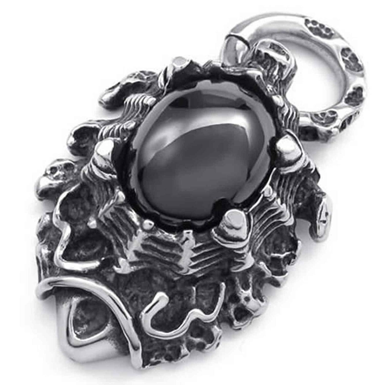 ANAZOZ Stainless Steel Silver Mens Pendant Necklace Retro Biker Amulet 18-26 Link