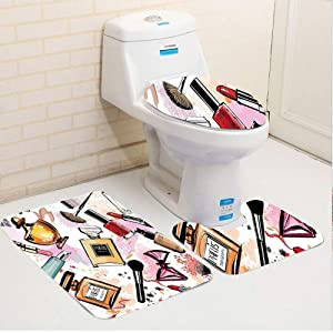 NEWcoco Three-Piece Toilet seat pad customGirly Cosmetic and Make Up Theme Pattern with Perfume and Lipstick Nail Polish Brush Modern City Lady Multi 3 Toilet