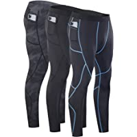 Milin Naco Men's Compression Pants, Cool Dry Baselayer Running Sports Tights with Pocket, Pack of 1, 2 or 3