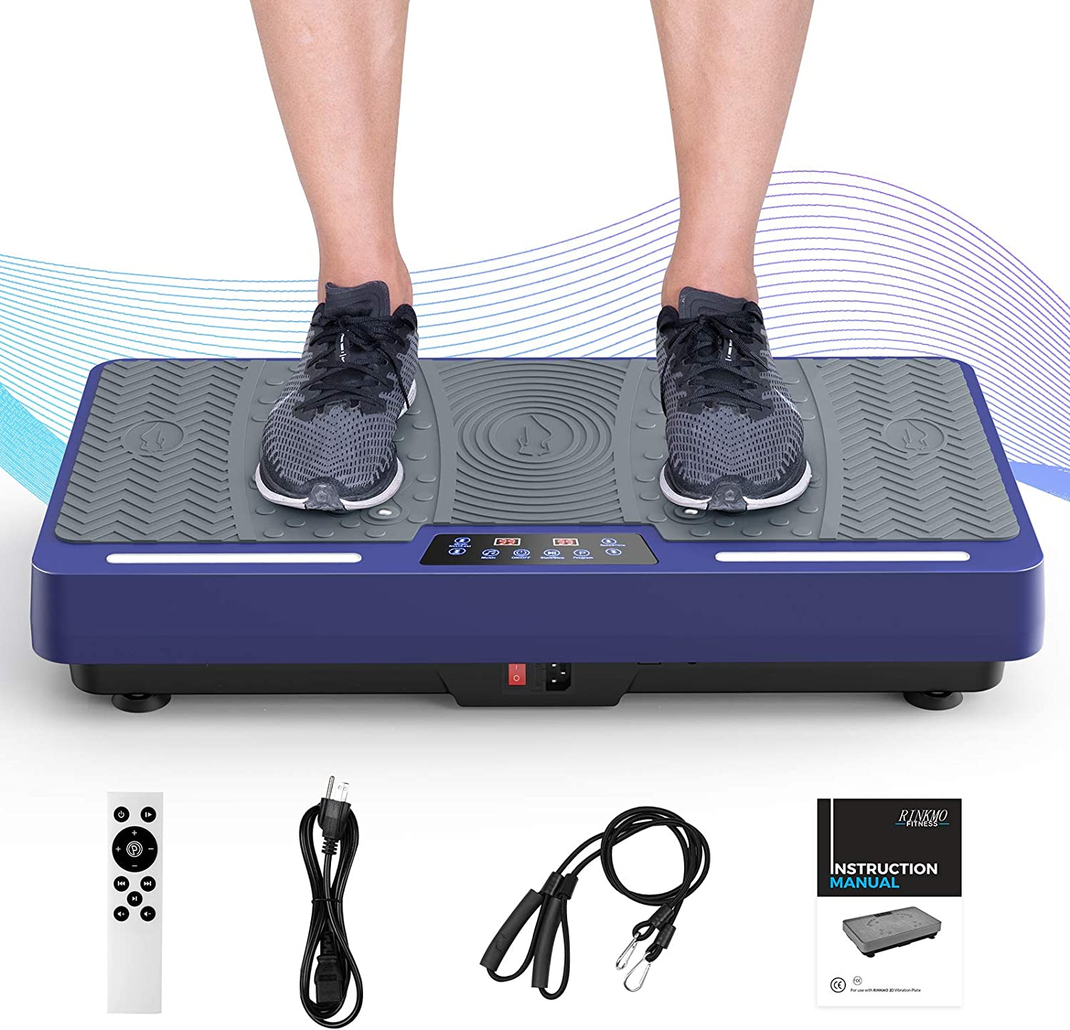 RINKMO Vibration Plate Exercise Machines with Resistance Bands, Whole Body Workout Vibrating Platform with Bluetooth Speaker LED Light Bar for Home Fitness Training Equipment and Weight Loss Blue