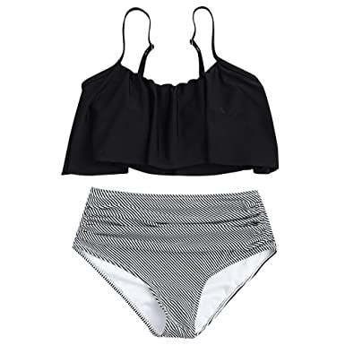 996482aae7 Amazon.com: GAMISS Women's Plus Size Striped High Waisted Bikini Set Two  Piece Ruffles Bathing Suit: Clothing