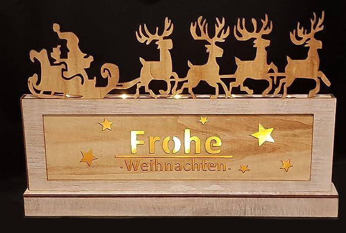 Schriftzug Frohe Weihnachten Beleuchtet.Amazon De Holz Deko Leuchte Frohe Weihnachten 10 Led