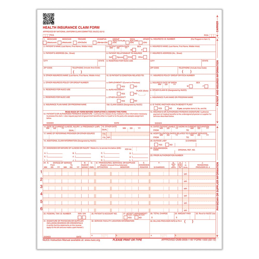 ComplyRight CMS 1500 Healthcare Billing Form - 02/12, Laser, 1000-Count (CMS12LC1)
