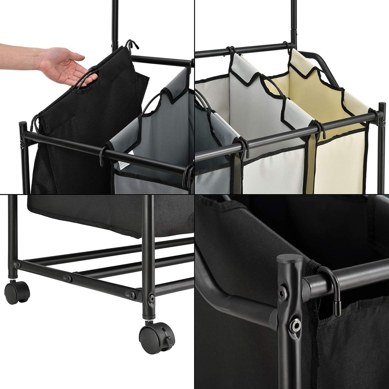 [en.casa] Carrito de lavandería con Barra para Colgar Ropa 160 x 89,5 x 40 cm Cesto para Ropa Sucia con Ruedas y 4 Bolsas Cubo para la Colada - Negro: ...