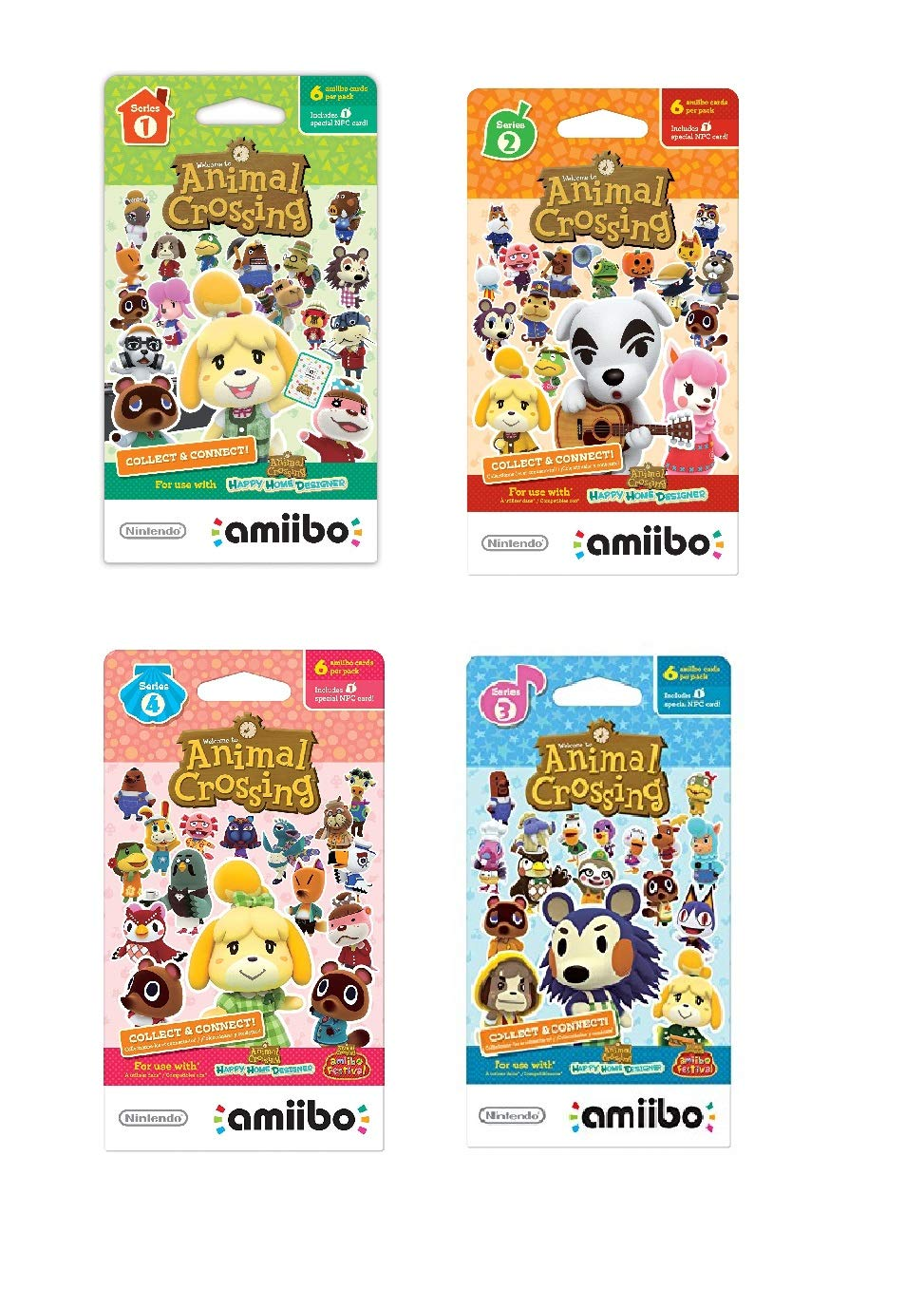 Nintendo Animal Crossing amiibo Cards Series 1, 2, 3, 4 for Nintendo Wii U and 3DS, 1-Pack (6 Cards/Pack) (Bundle) Includes 24 Cards Total by Nintendo