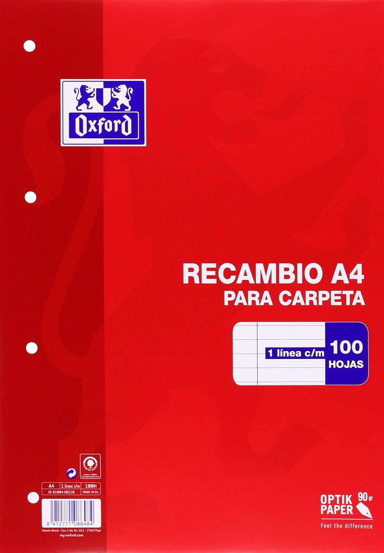 Oxford 100430210 - Recambio de rayas para carpeta A4, 100 hojas, 90 g, con margen Hamelin Brands