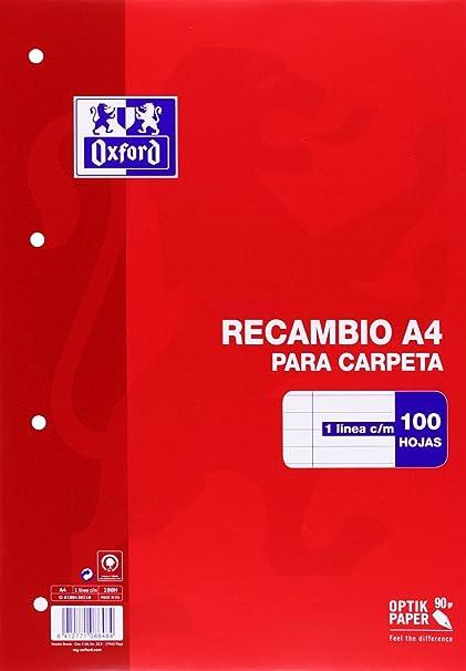 Oxford 100430210 - Recambio de rayas para carpeta A4, 100 hojas, 90 g,