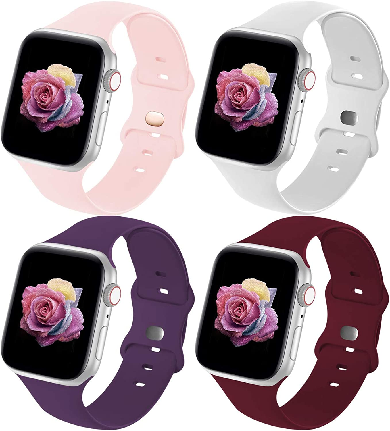 Crefort 7 Pack Sport Band Compatible with Apple Watch Bands 38mm 40mm 42mm 44mm for Women Men,Soft Silicone Replacement Strap Accessory Compatible for iWatch Wristbands Series 6/3/5/SE/4/2/1 S/M M/L