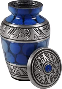 Keepsake Cremation Urn - Mini Funeral Memorial with in Blue Design for Sharing of Token Amount of Ashes, Miniature Burial, Funeral Urns for small Aluminum Keepsake Urn Sharing for Pet or Human Ashes