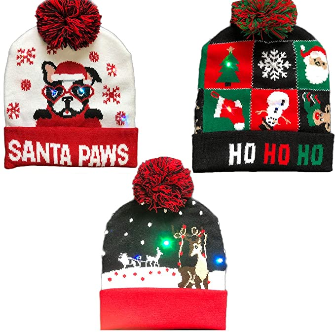 9b1e2bde0f4 Raylans Unisex Adult Kids Knitted Ugly Sweater Holiday Xmas Christmas LED  Light-up Beanie Hat