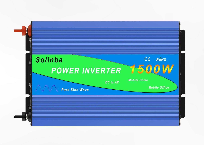 Solinba spannungswandler Wechselrichter 1500w Pure Sine Wave Off Grid Peak 3000w Converter DC24v to AC230v 50Hz(DC24V)