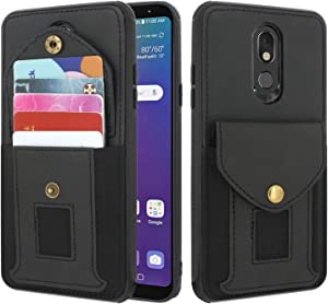 Lacass Shockproof Slim Leather Wallet Case Protective Cover with Elastic Pocket Credit Card Slot Holder for LG Stylo 5 / Stylo 5 Plus/Stylo 5V / Stylo 5X (Black)