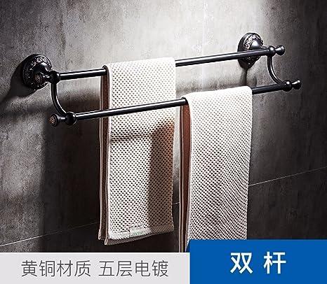 ZXC Bathroom racks Retro Negro de latón de Toallas de baño Plegable, Estilo 5