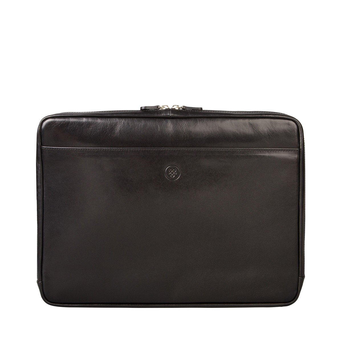 Maxwell Scott Luxury Black Leather 15 inch Laptop Sleeve (The Verzino) - One Size