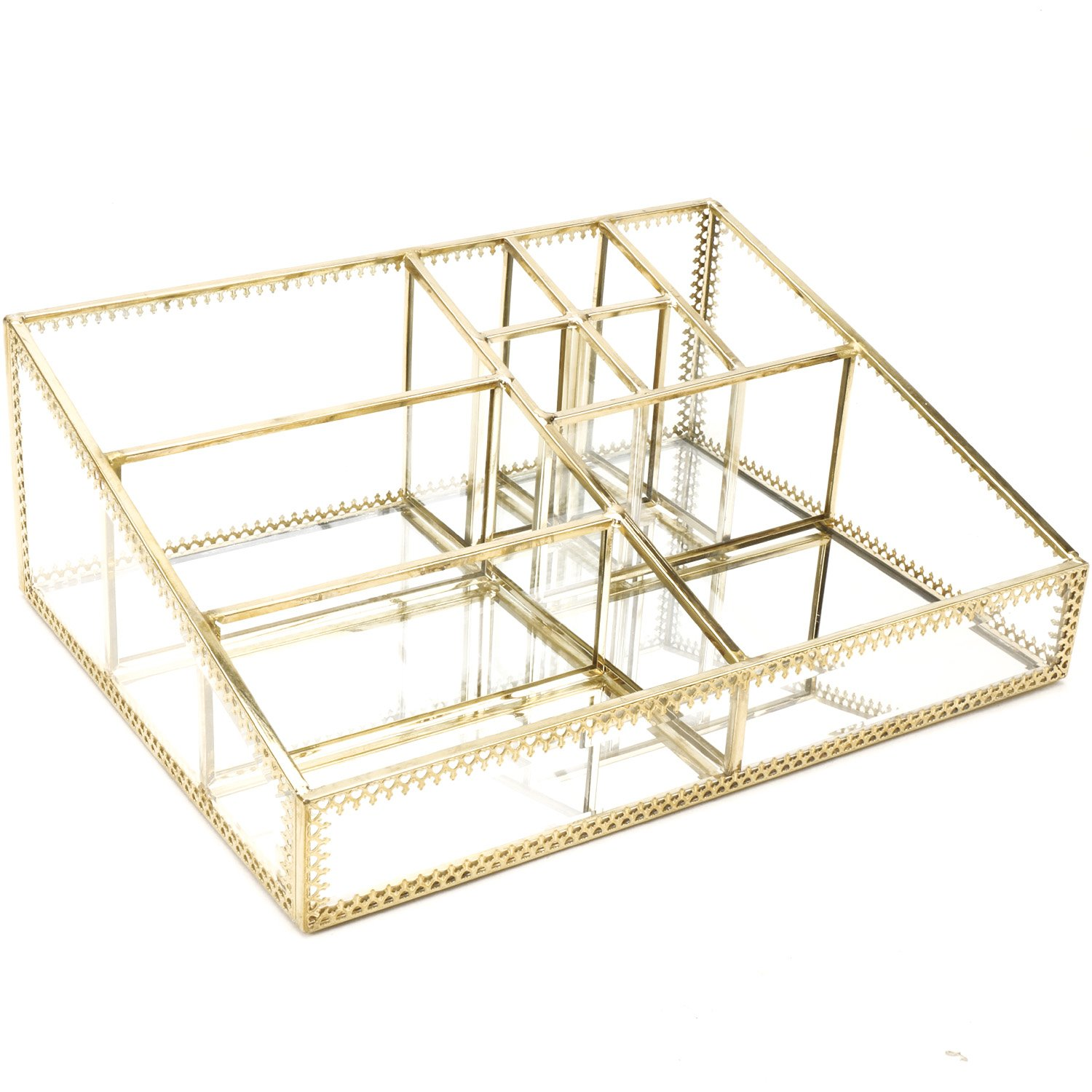 Hersoo Gold Mirrored Vanity Tray Glass Makeup Display Organizer Dresser Comestic Storage For Palette Lipstick Brushes Skincare Perfumes Bathroom Accessories Buy Online In Dominica At Dominica Desertcart Com Productid 59291339