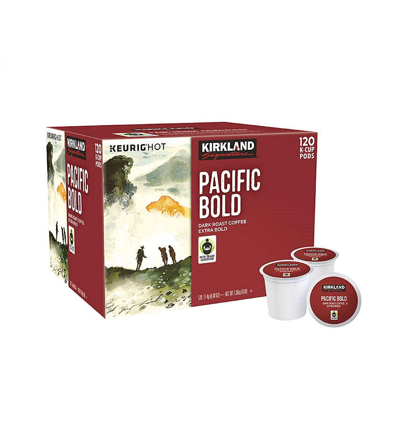 Kirkland Signature Pacific Bold Coffee, Dark, 120 K-Cup Pods