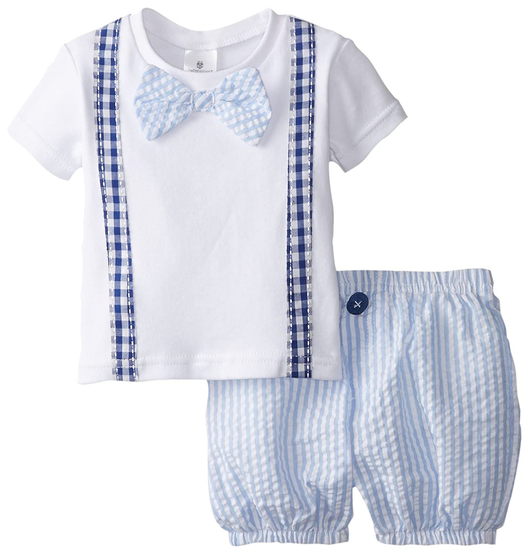 Baby Aspen Baby-Boys Newborn Little Man Bowtie T-Shirt and Seersucker Shorts Set Blue/White BA16044NA