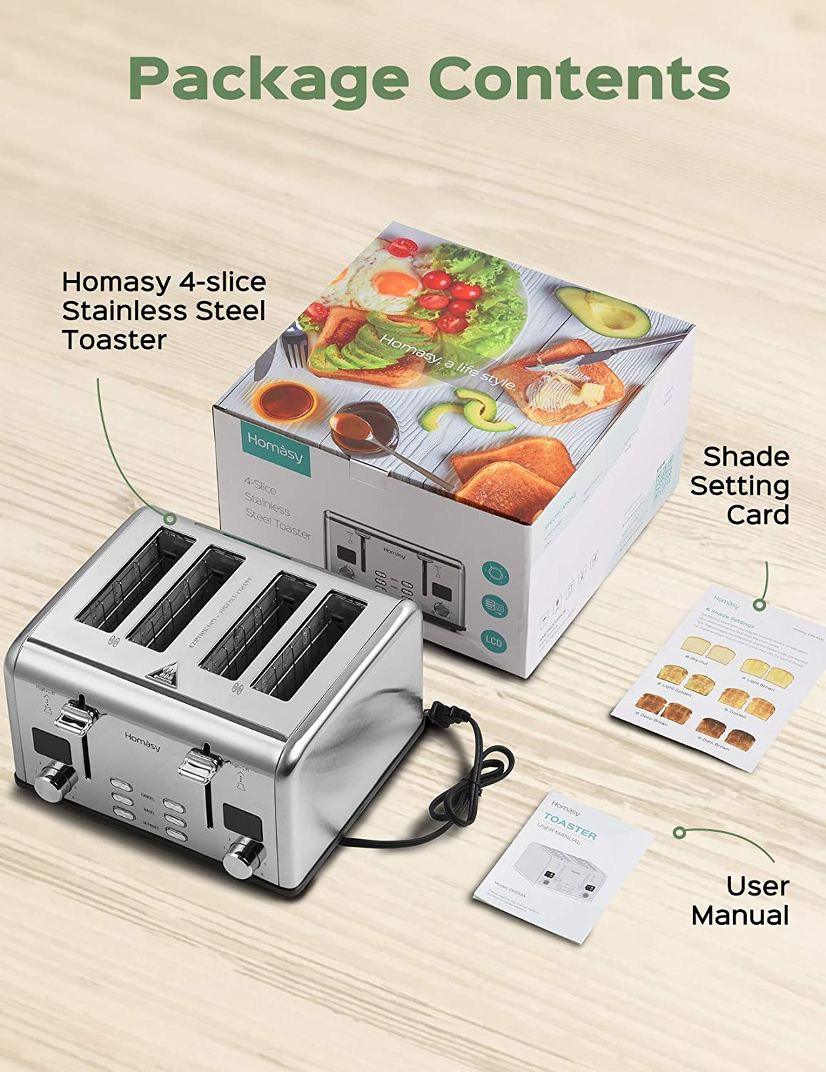 Small Appliances Removal Crumb Tray Homasy Toaster 4 Slice Dual ...