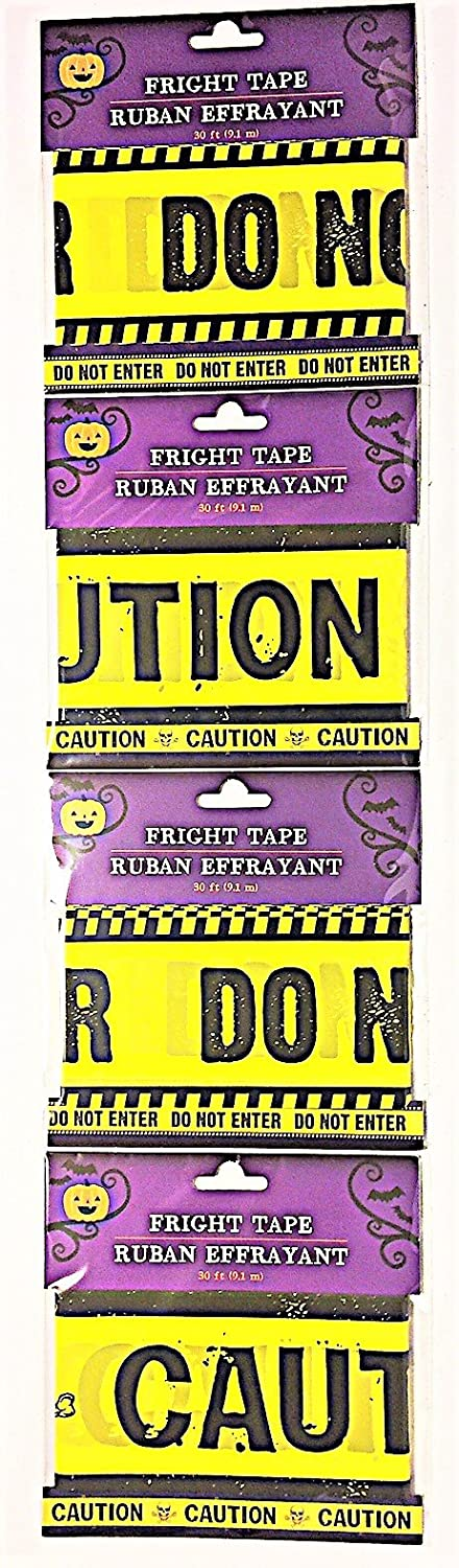 Pack of 4 Fright Tape Haunted Halloween Party Decorations bundle Yellow Caution yellow do not enter 2 . 120 ft total and 2