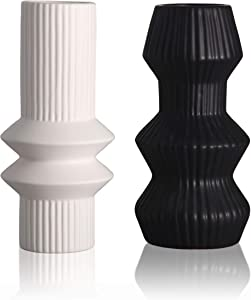 TERESA'S COLLECTIONS Ceramic Modern Vase for Home Decor, Black and White Cylinder Geometric Decorative Vases for Mantel, Table, Living Room, Office Decoration-Set of 2