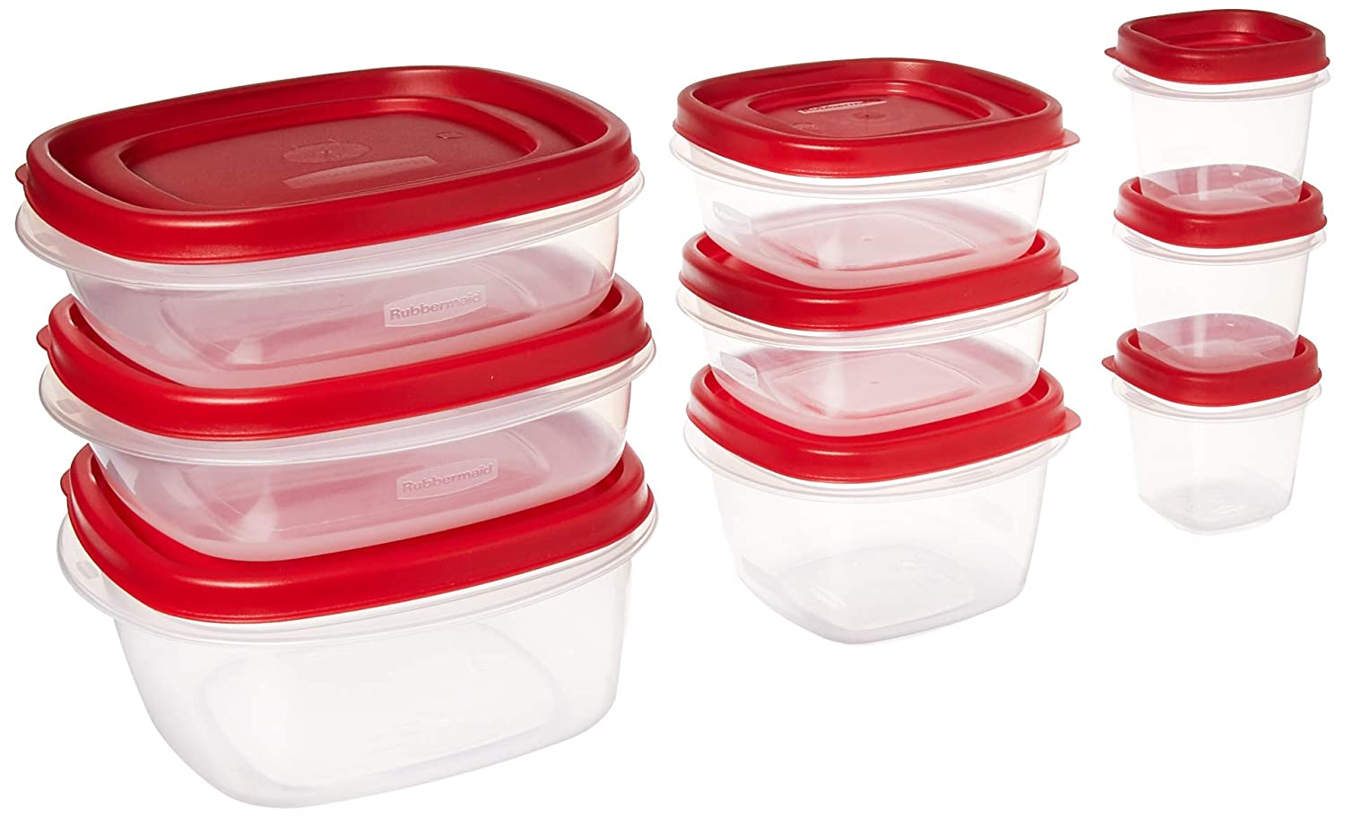 Rubbermaid 071691236986 Easy Find Lids Food Storage Container, 18-Piece Set, Red, Assorted,