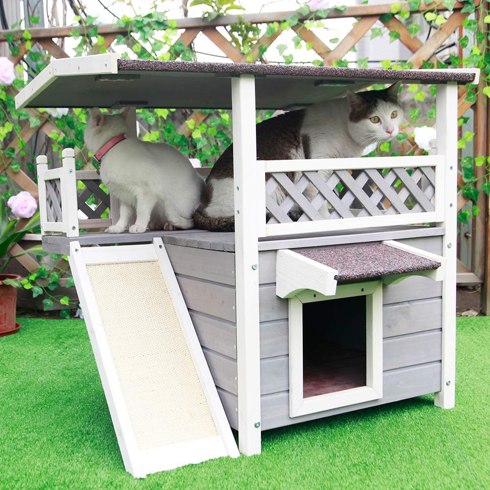 Petsfit Weatherproof Outdoor/Indoor Cat House with Scratching Pad for 1-3 Cats by Petsfit