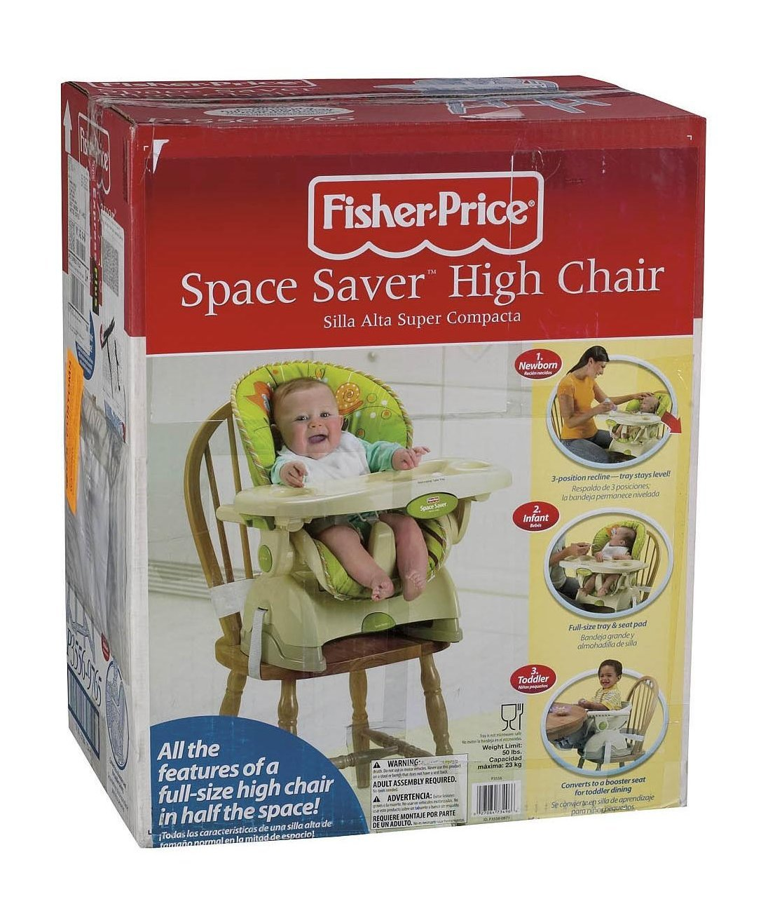 Amazon.com: Fisher-Price ahorro de espacio silla alta, color ...
