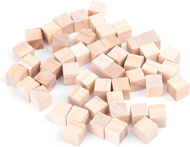 AYUN Bloques de Madera Natural para Manualidades 10mm(50 pcs) Cubos de Madera Cuadrados peque/ños Bloques Cuadrados de Madera