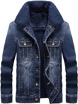 メンズスリムデニムジャケット カジュアルな長袖パッド入りジャケット シェルパライニング ラペルジャケット