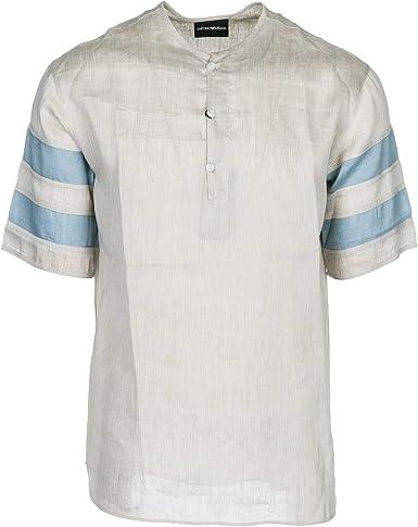 Emporio Armani Hombre Camisa de Manga Corta Beige M: Amazon.es: Ropa y accesorios