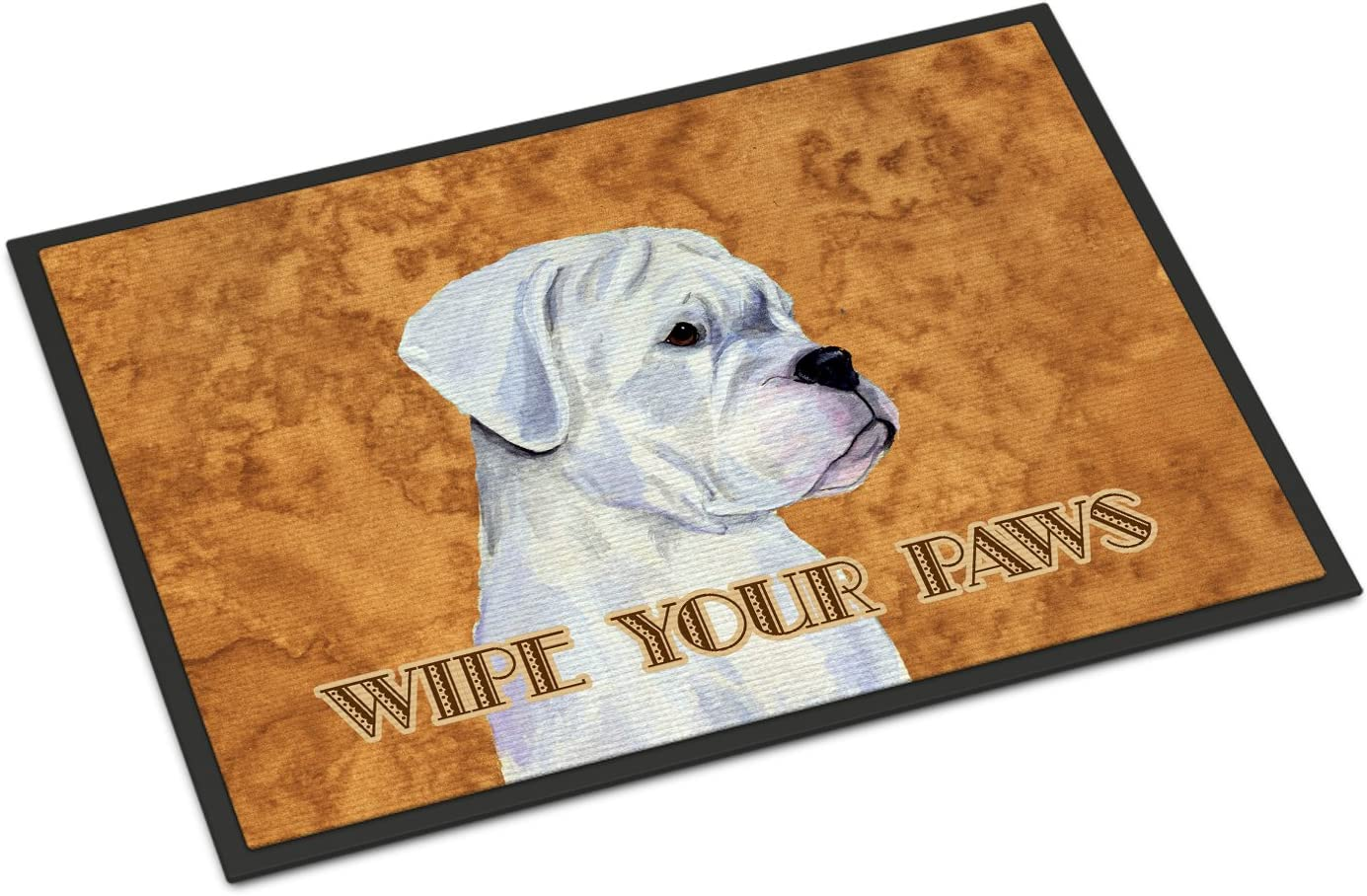 Caroline s Treasures SS4887JMAT White Boxer Wipe Your Paws Indoor or Outdoor Mat 24×36, 24H X 36W, Multicolor