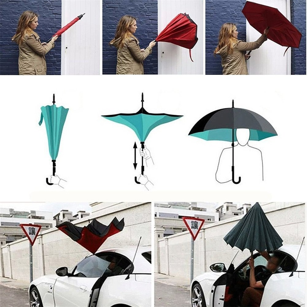 Baby Parapluie coupe-vent arrière pliable double couche inversée innovant Sun Block Eco-Friendly Bumbershoot en forme de C mains poignée parapluie gratuits hommes et femmes, meilleur usage pour Voyage et la voiture - (106 cm) (wind)