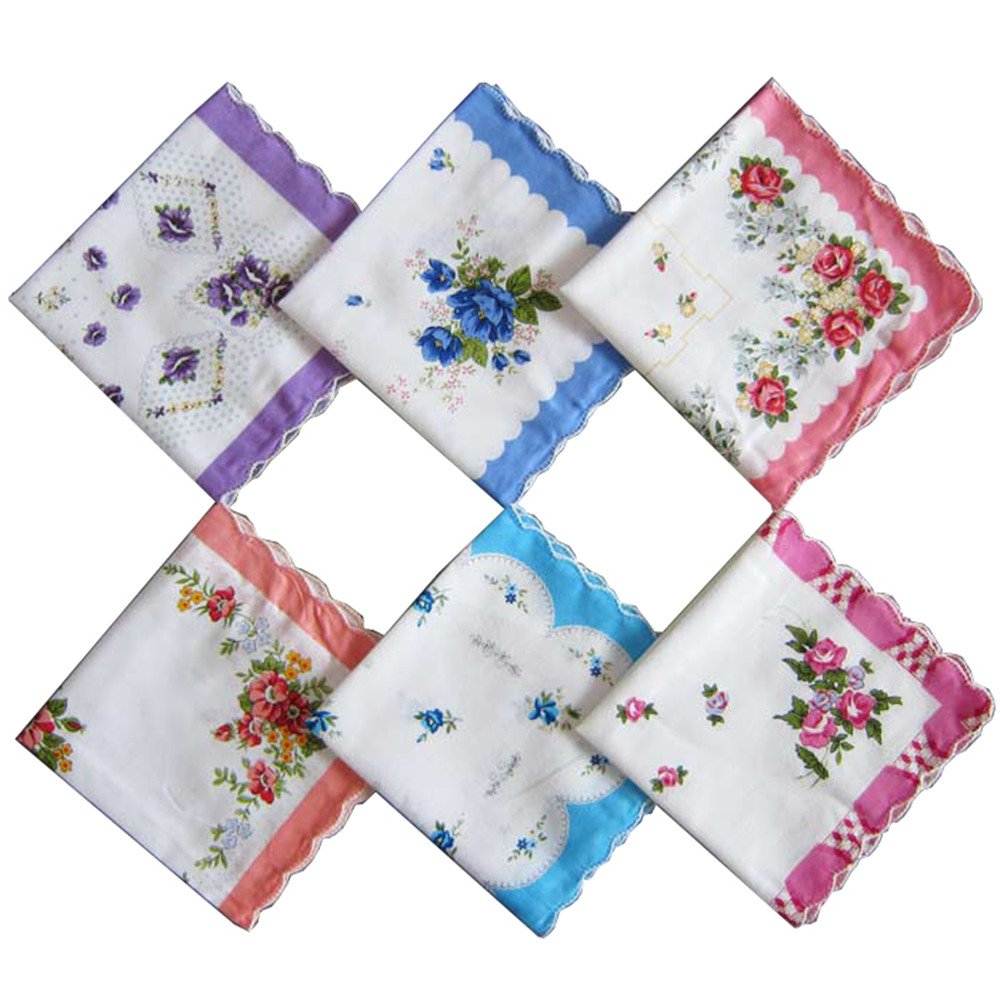 Cotton Ladies' Vintage Floral Handkerchiefs for Wedding Party (set of 10 pieces) syy-012