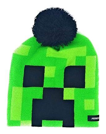07bda818b3556 Amazon.com  Mojang Boys Minecraft Creeper Beanie Hat with Black Pom ...
