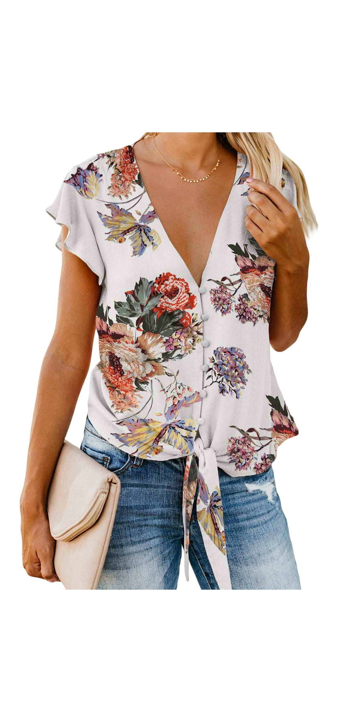 Women V Neck Floral Print Tops Short Sleeve Button Down